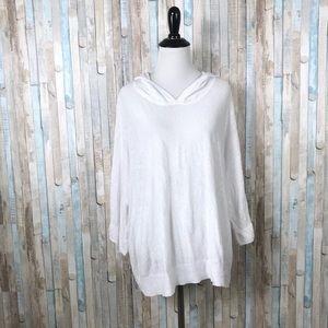 Eileen Fisher L Organic Linen Knit Hoodie Sweater
